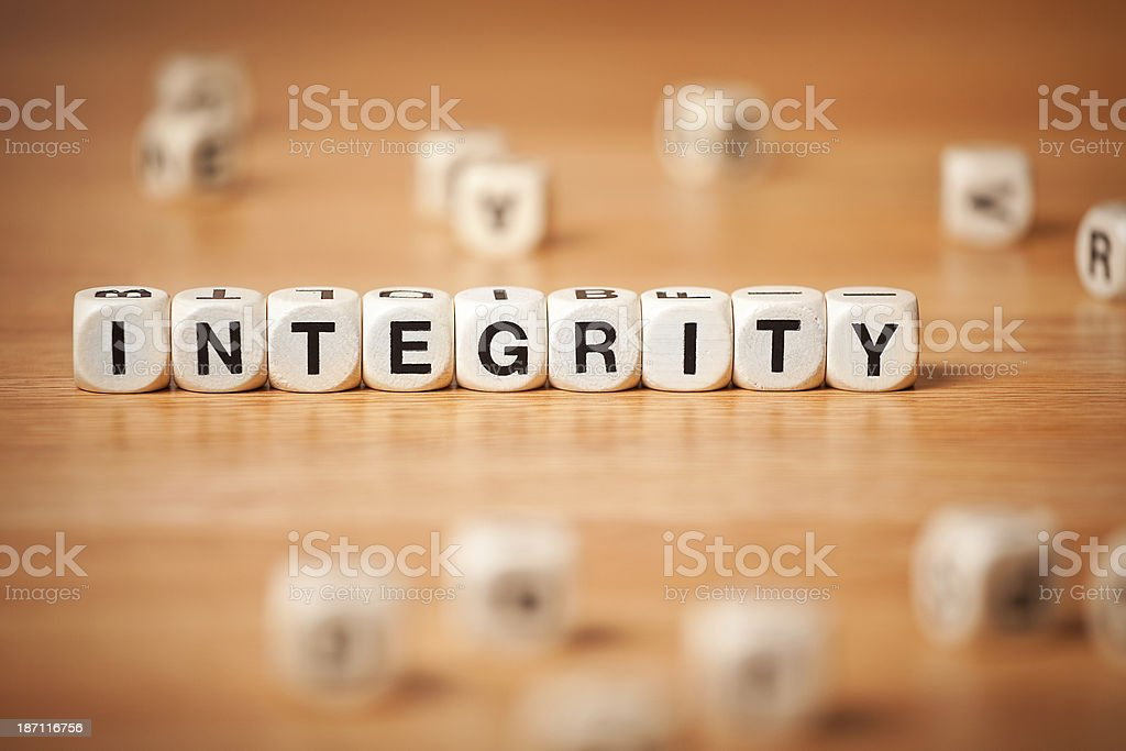 The Word INTEGRITY Spelled In Letter Cubes royalty-free stock photo