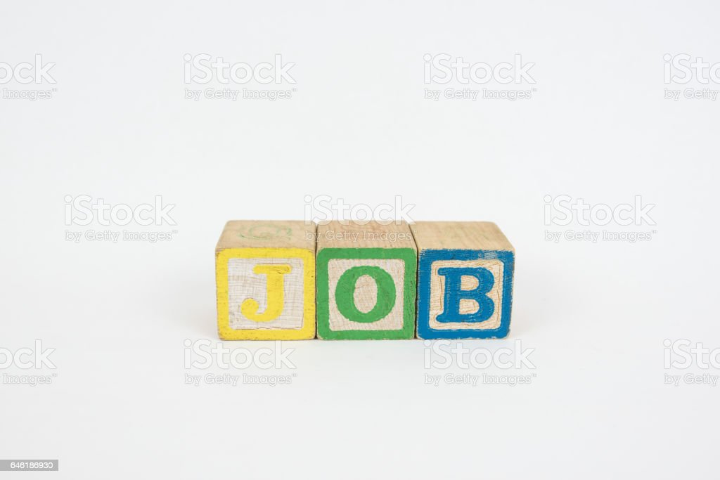 The Word Job in Wooden Childrens Blocks stock photo