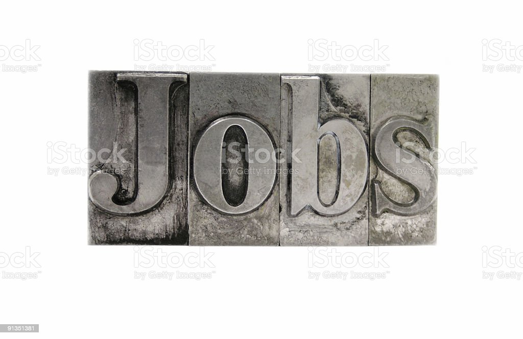 the word 'Jobs' in old metal type royalty-free stock photo