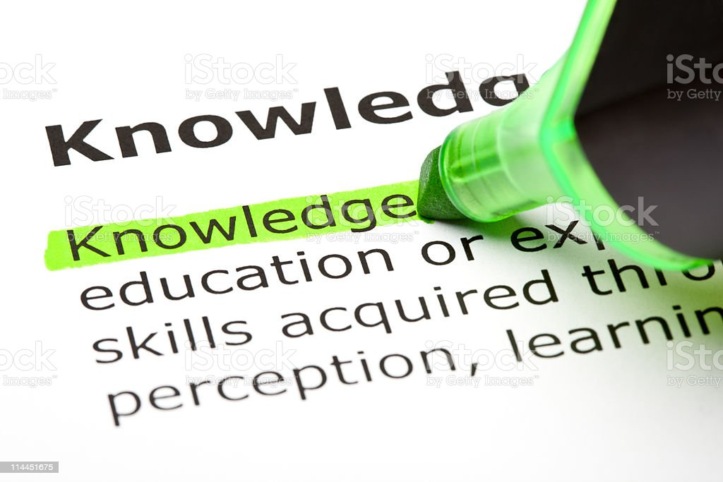 The word Knowledge highlighted in green royalty-free stock photo