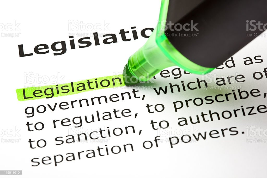 The word Legislation highlighted in green stock photo