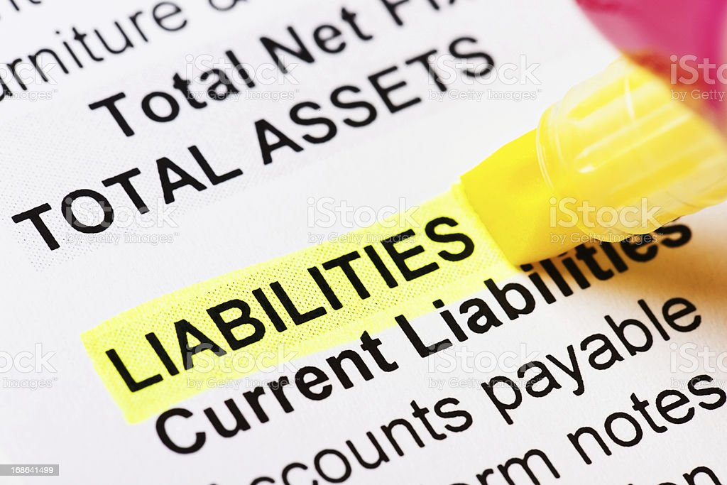 The word Liabilities highlighted in yellow on financial document stock photo