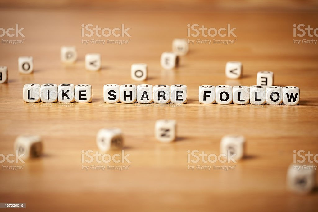 The Word Like Follow and Share Spelled In Letter Cubes royalty-free stock photo