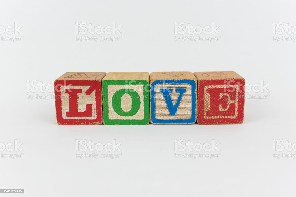 The Word Love in Wooden Childrens Blocks stock photo