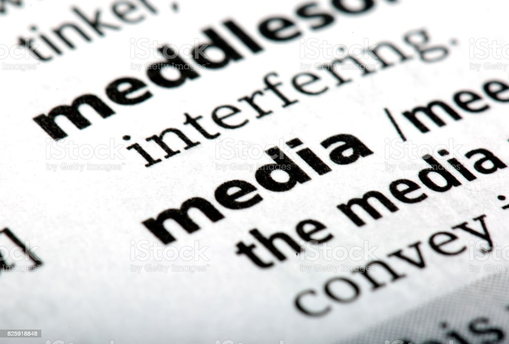 The word media printed and defined in the English dictionary stock photo