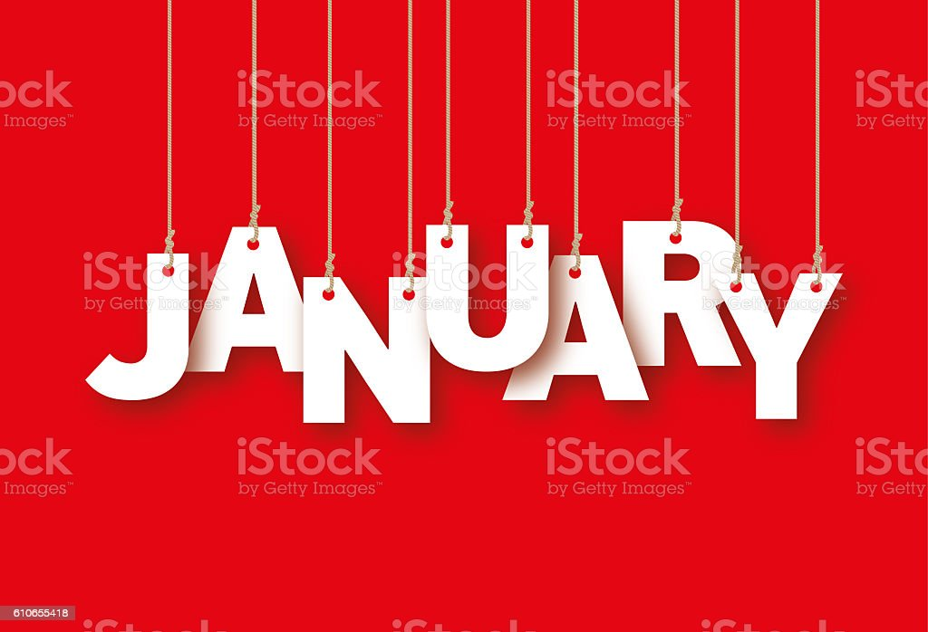 JANUARY the word of the white letters hanging on ropes stock photo