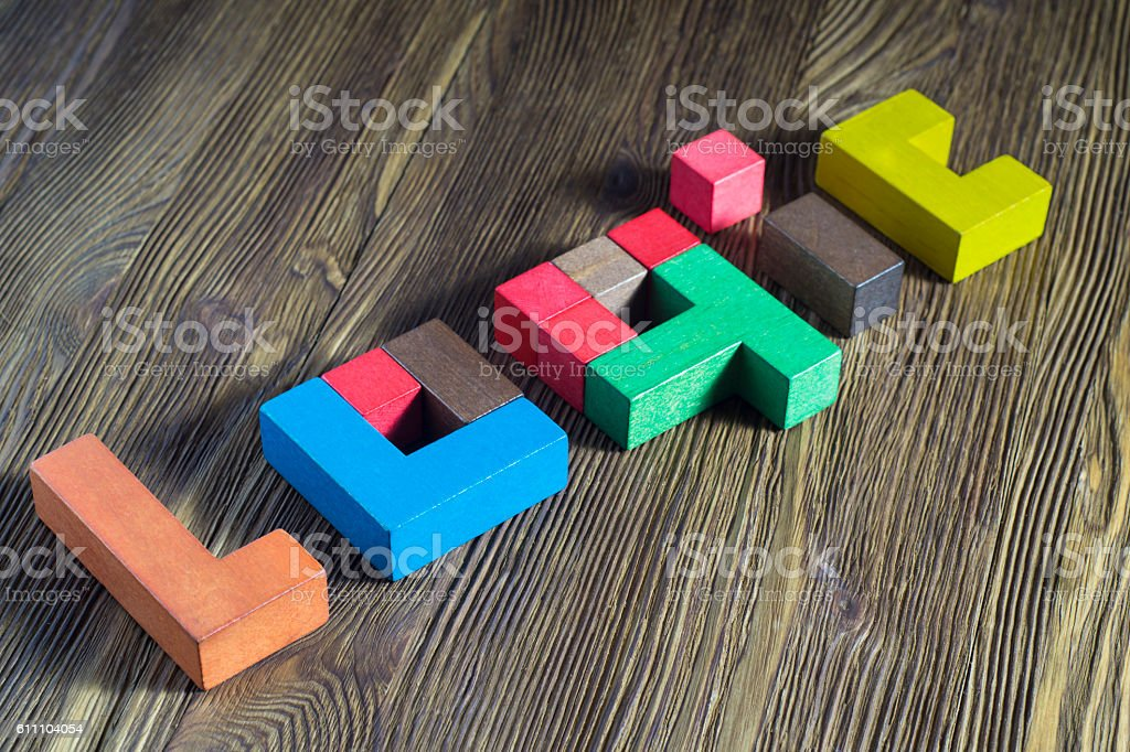 The word on the logic of multi-colored wooden blocks stock photo