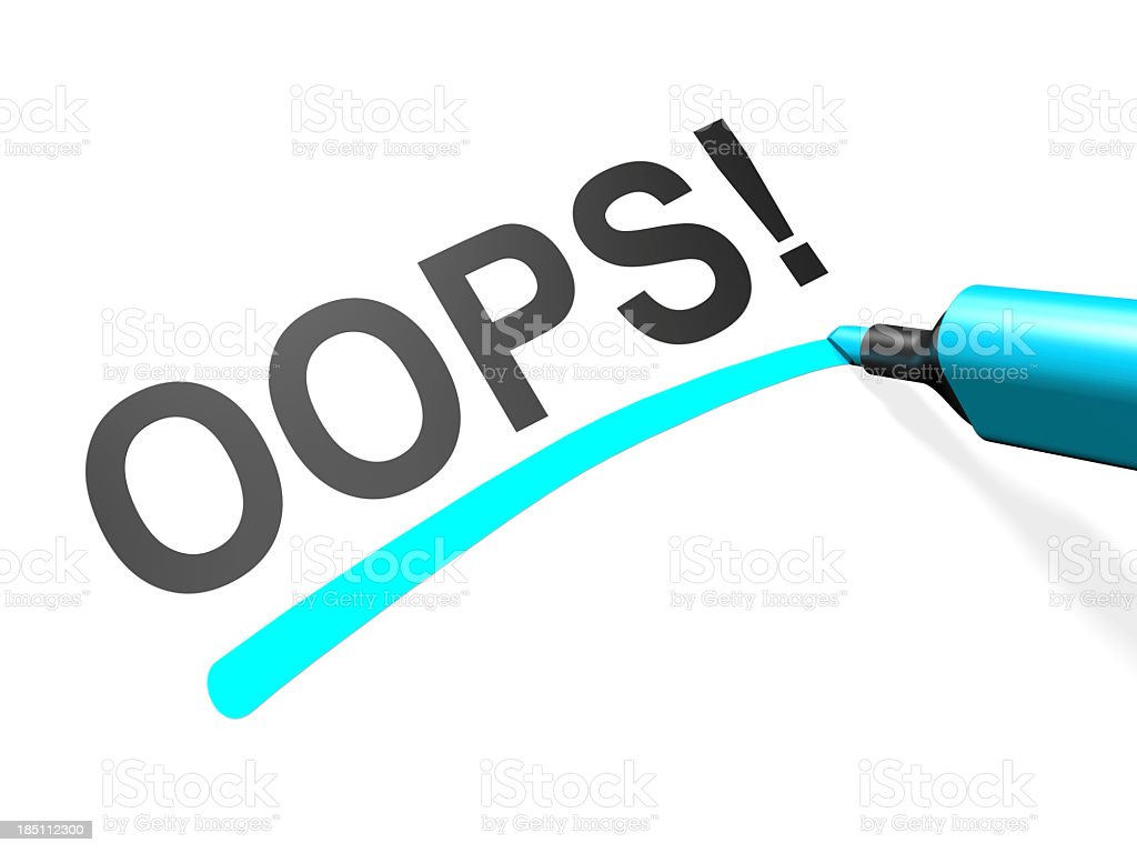 The word oops underlined in teal on a white background stock photo