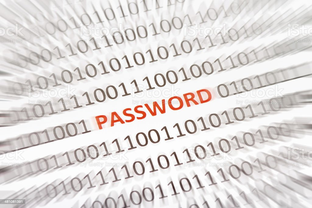 The word Password inside binary code royalty-free stock photo