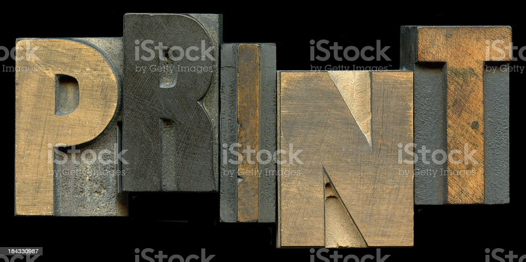 The word PRINT in old type blocks stock photo