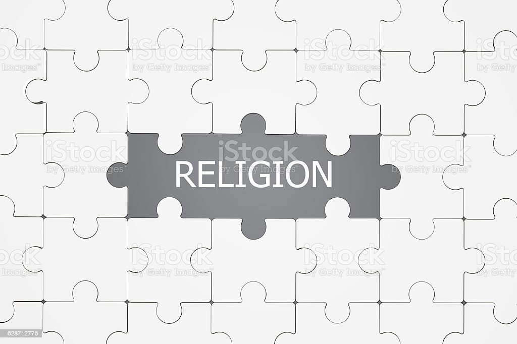 The word Religion revealed by a missing jigsaw puzzle piece stock photo