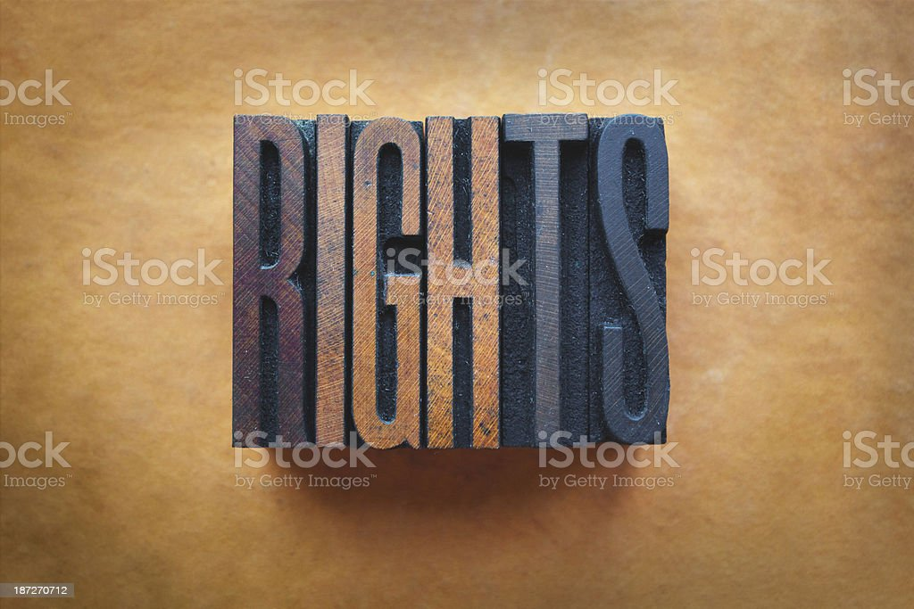 The word rights written in wooden blocks stock photo