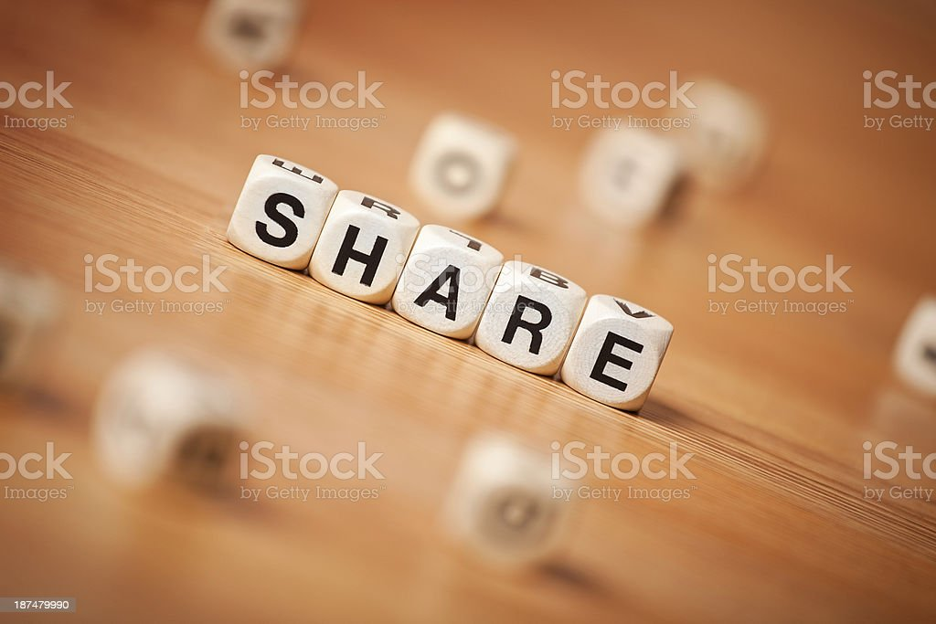 The Word SHARE Spelled In Letter Cubes royalty-free stock photo