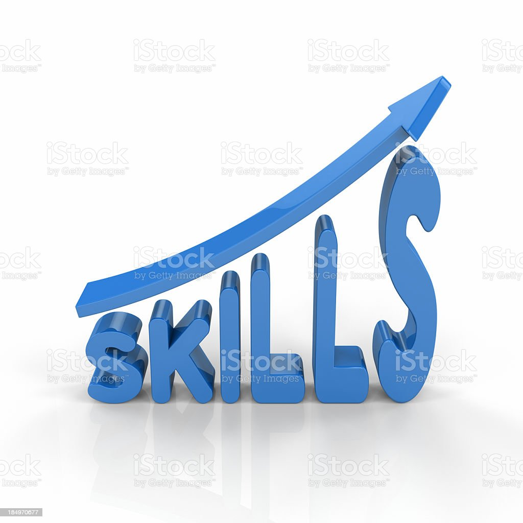 The word skills in blue with an arrow on top royalty-free stock photo