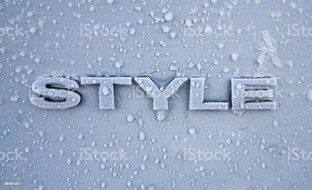 The word STYLE frozen in ice on steel. royalty-free stock photo