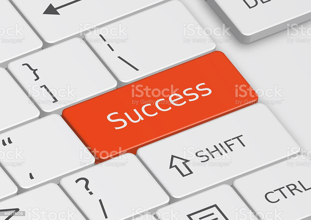 The word Success written on the keyboard stock photo