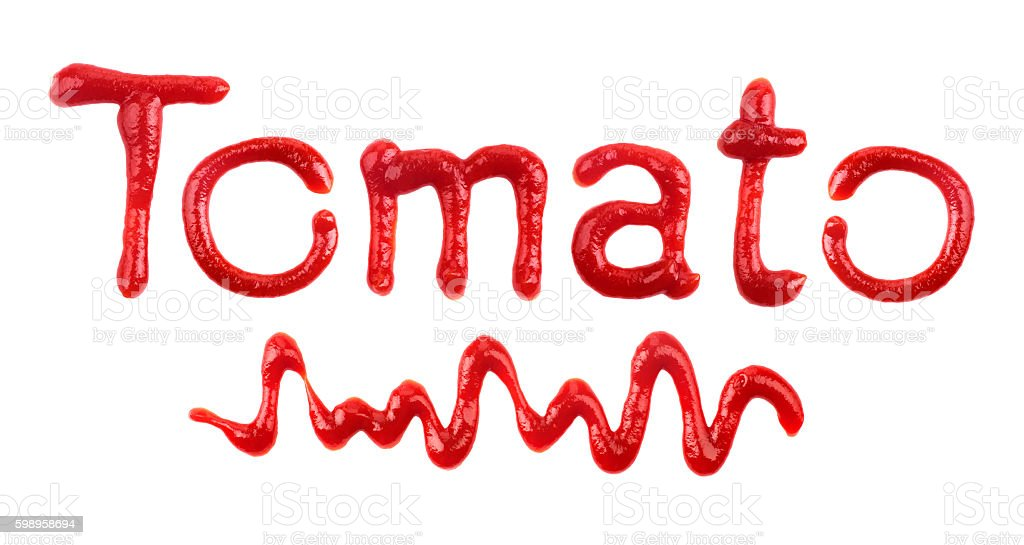The word 'Tomato' written with ketchup on white stock photo