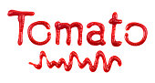 The word 'Tomato' written with ketchup on white