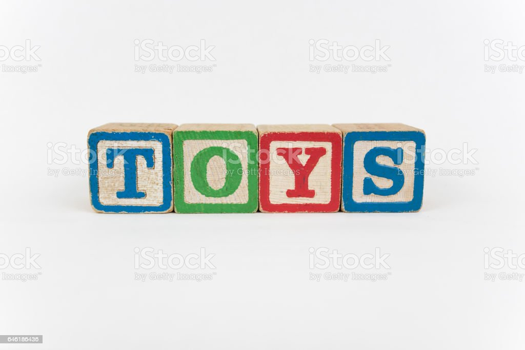 The Word Toys in Wooden Childrens Blocks stock photo