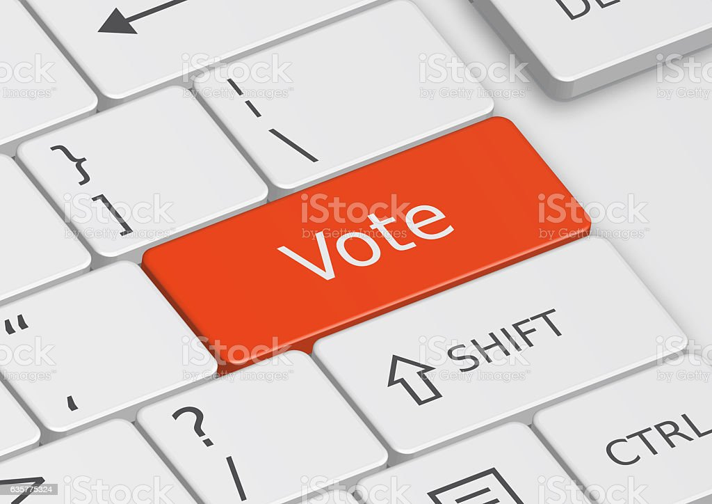 The word Vote written on the keyboard stock photo