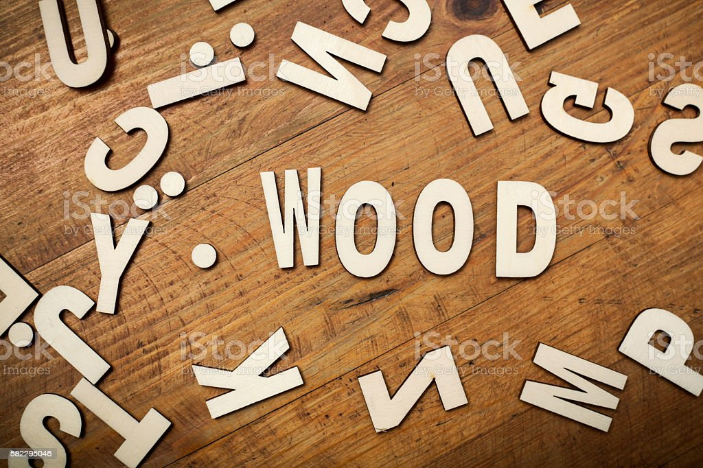 The word 'wood' in wooden letters stock photo