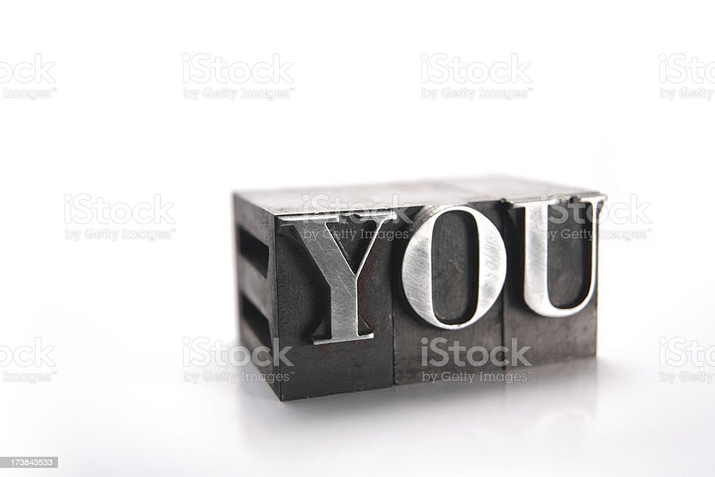 The word YOU with printing blocks royalty-free stock photo