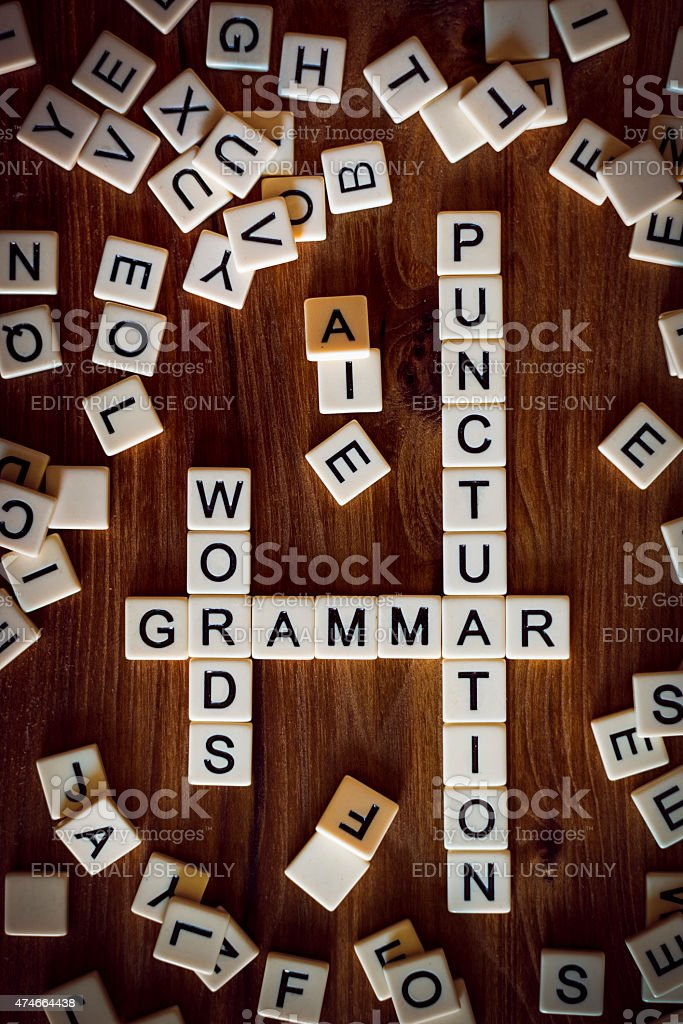 The words GRAMMAR, WORDS, and PUNCTUATION spelled  using letter stock photo