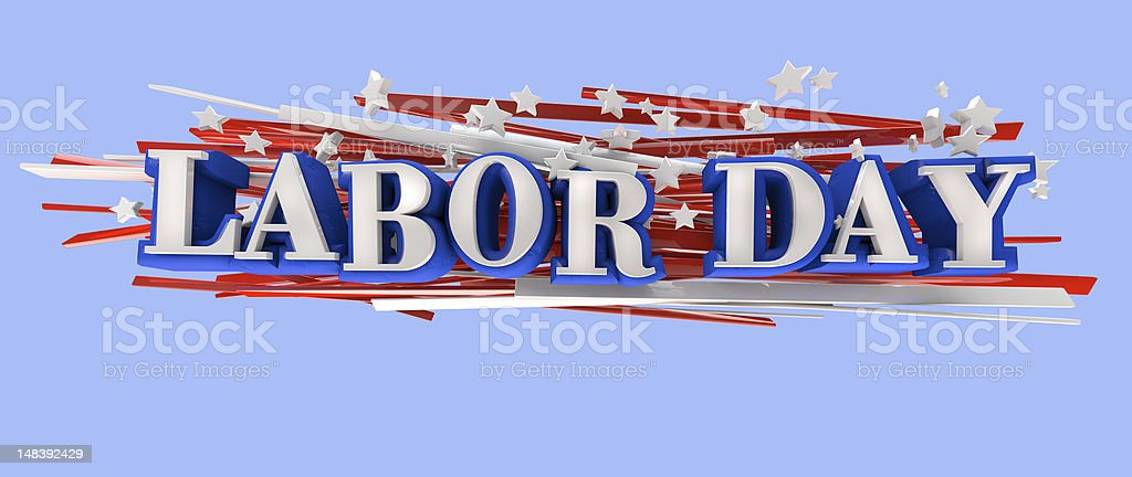 The words Labor Day with Stars and Stripes on a blue back stock photo