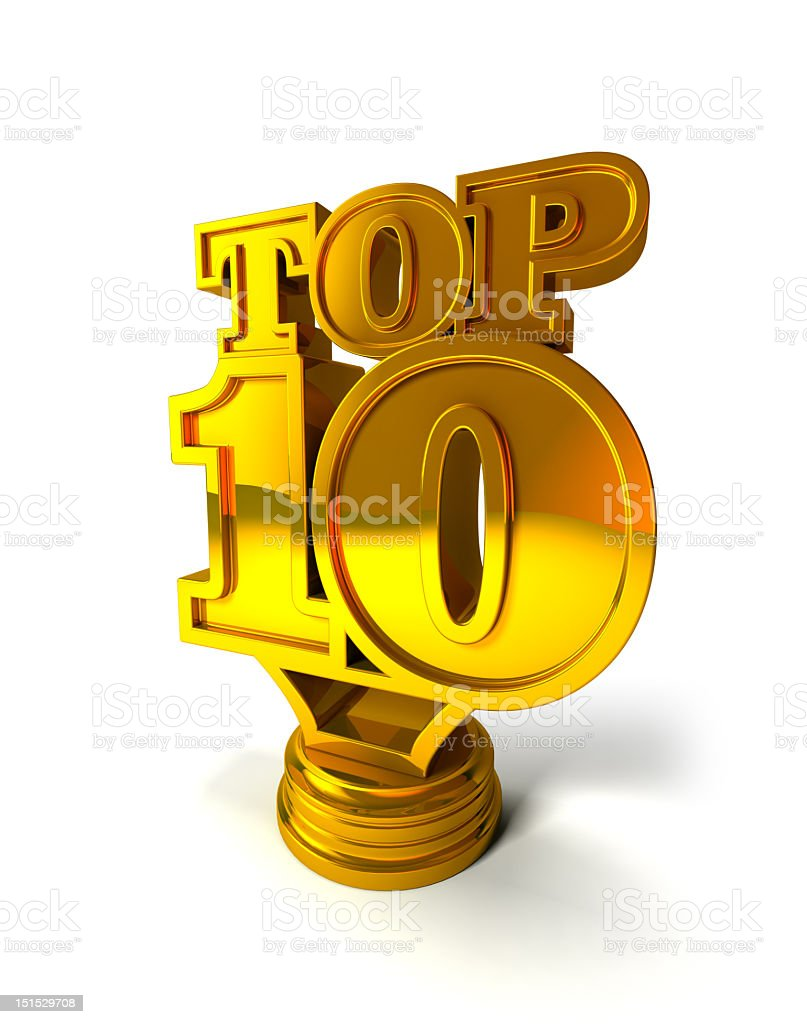 The words top 10 in gold on a stand stock photo