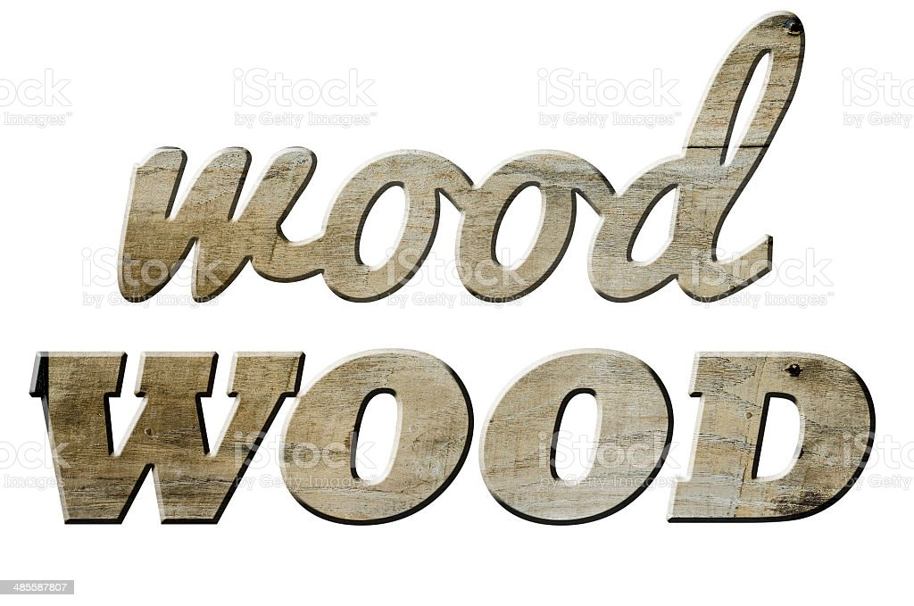 The words WOOD  in vintage wooden , isolated on white stock photo
