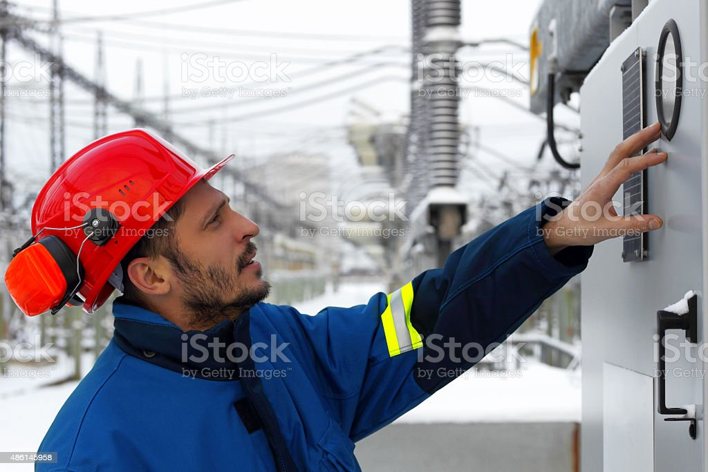 The worker at power plant stock photo