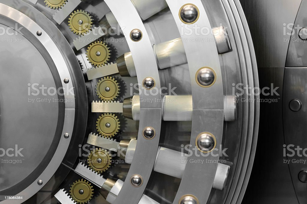 The workings of the inside of a steel safe door stock photo