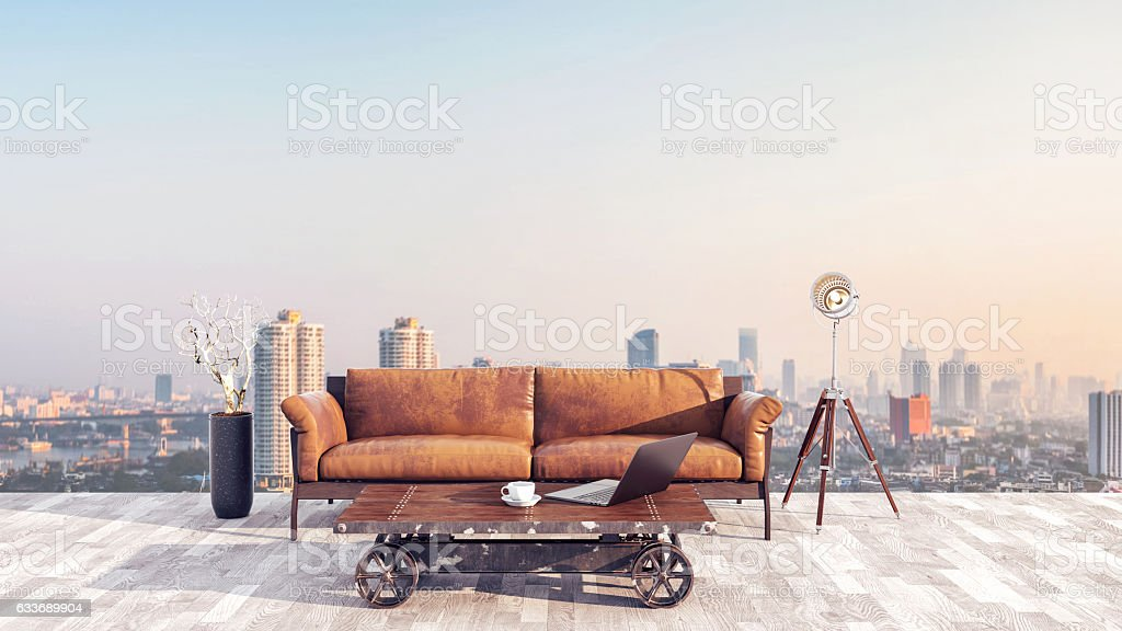 The workplace and outside. A relaxed, 3d render and illustration. stock photo