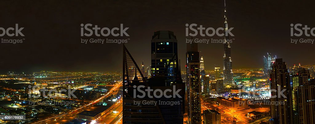The world famous panoramic Dubai Downtown District stock photo
