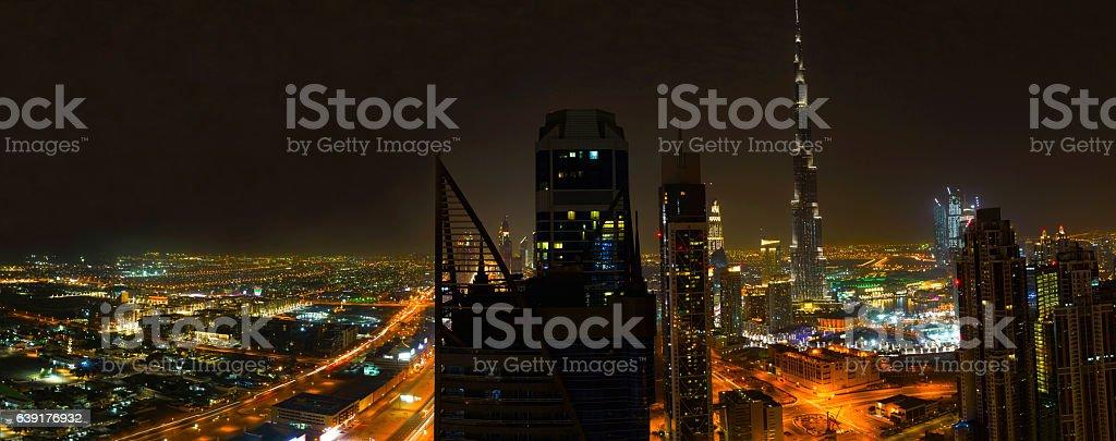 The world famous panoramic Dubai Downtown District stock photo