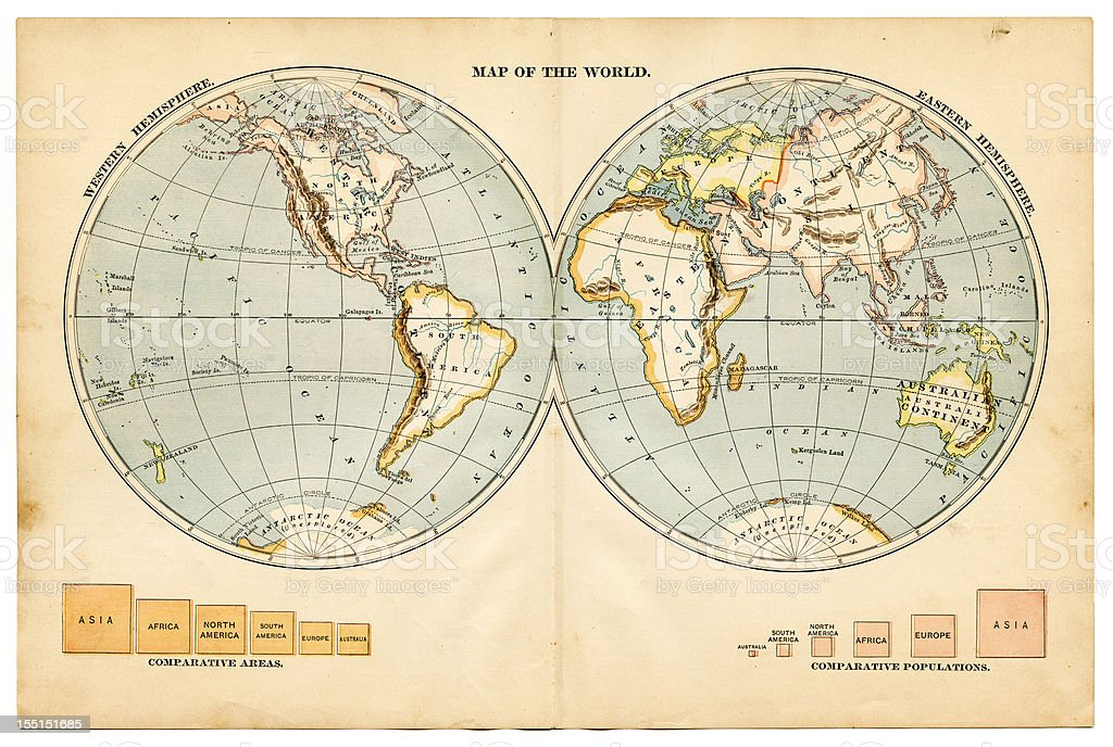the world in hemispheres 1883 stock photo