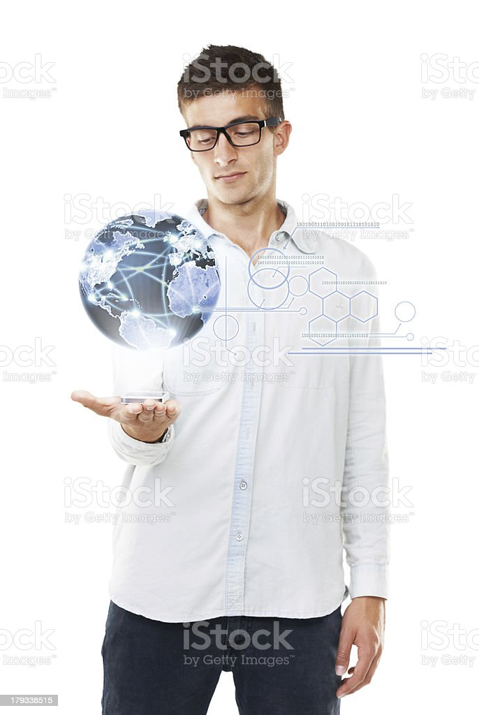 The world in his hands royalty-free stock photo