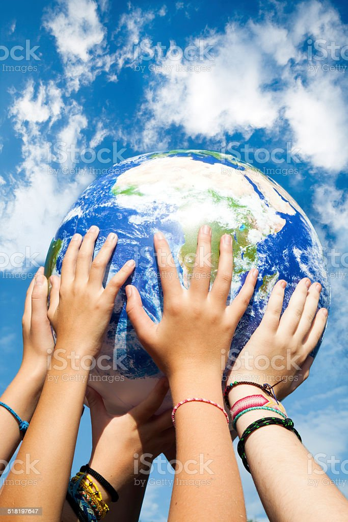 The world in our hands stock photo