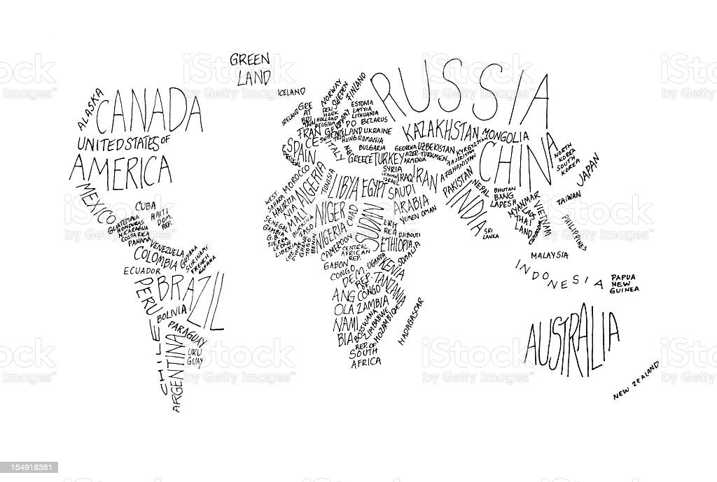 The world in white and grey words royalty-free stock photo