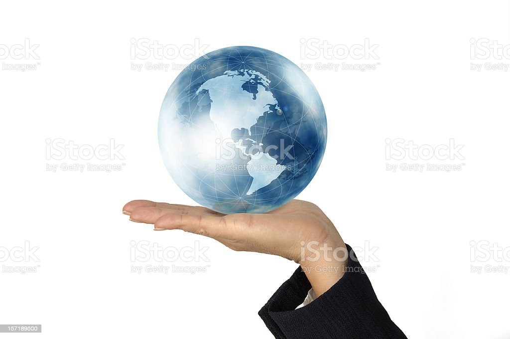The world in woman's hand royalty-free stock photo