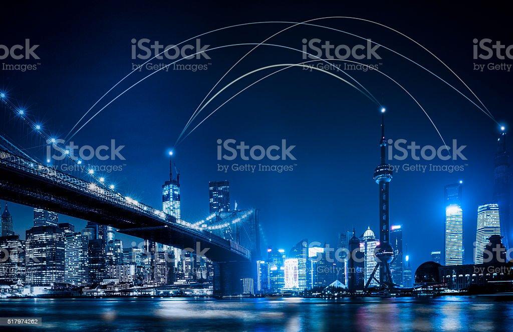 the World Network- USA and China stock photo