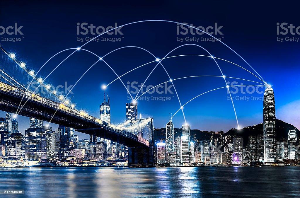 the World Network- USA and Hong Kong stock photo