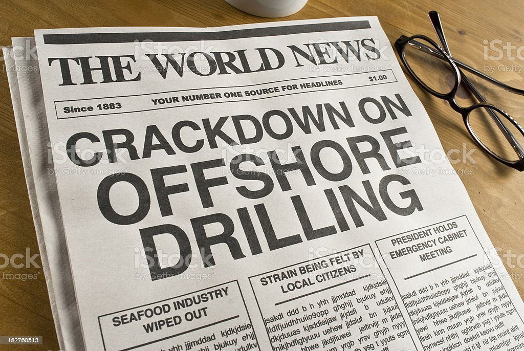 The World News headline about offshore drilling stock photo