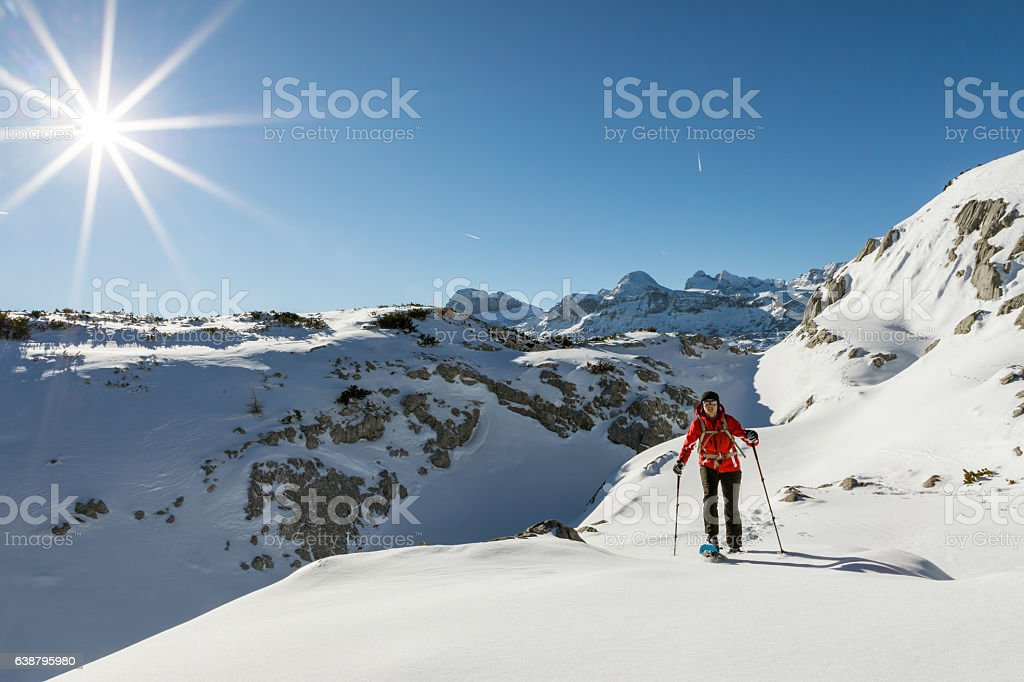 The World of Dachstein Mountains snowshoeing, Austria stock photo