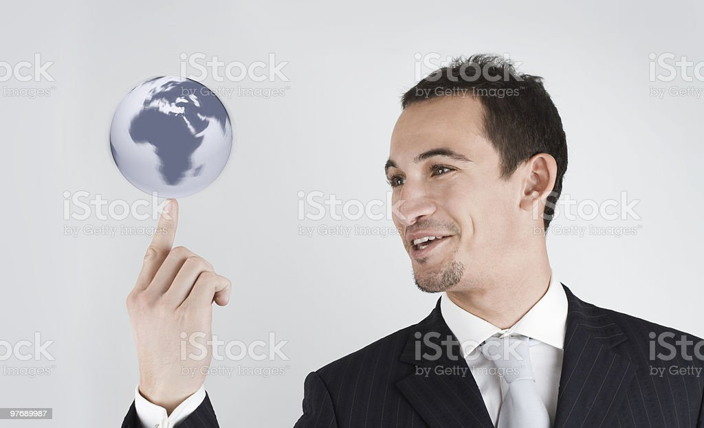 the world on my finger stock photo