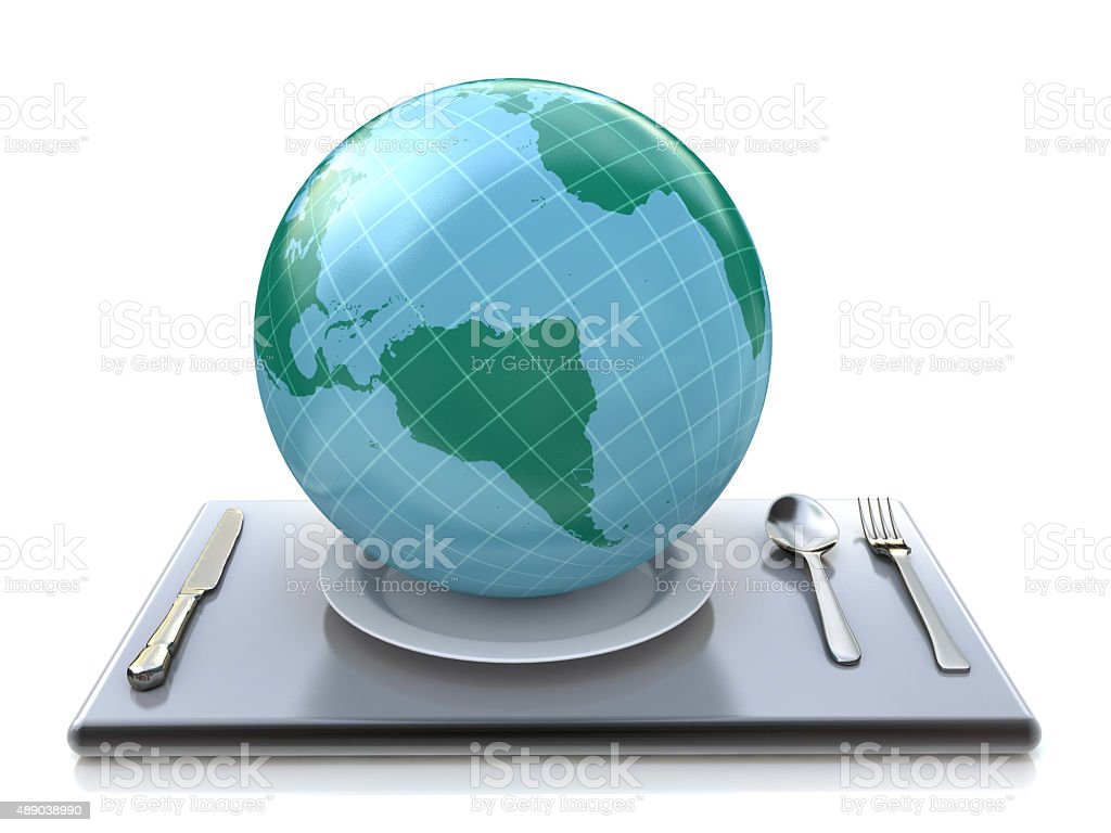 The world on plate stock photo