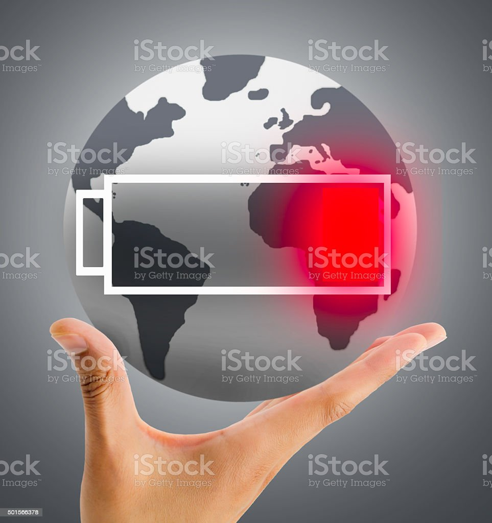 the world runs out of battery stock photo