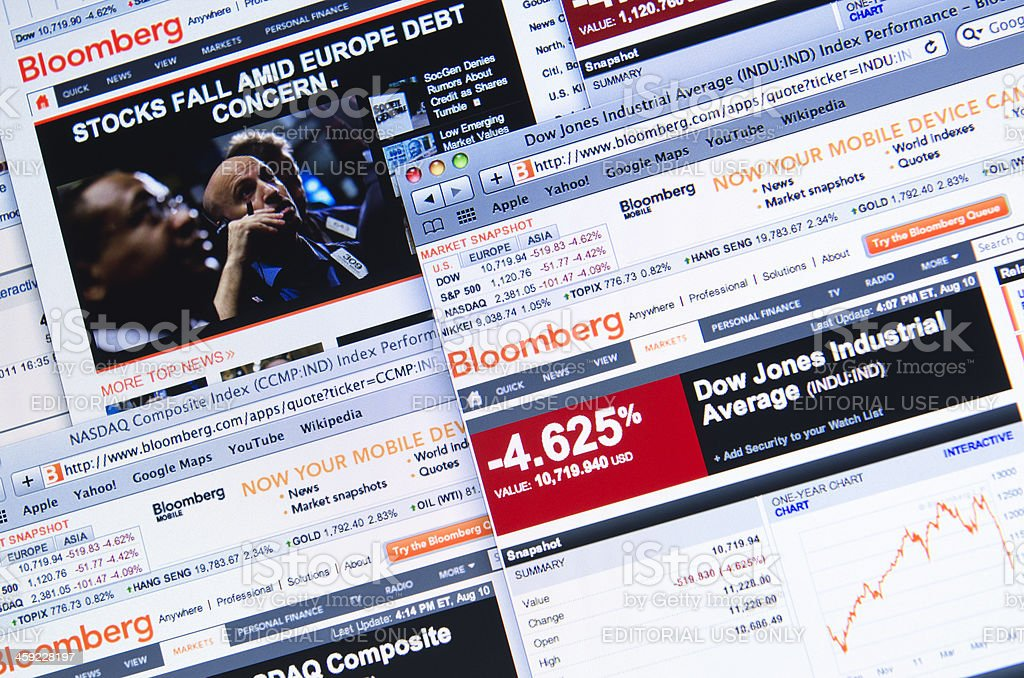 The world stock exchange crisis showed in Bloomberg.com stock photo
