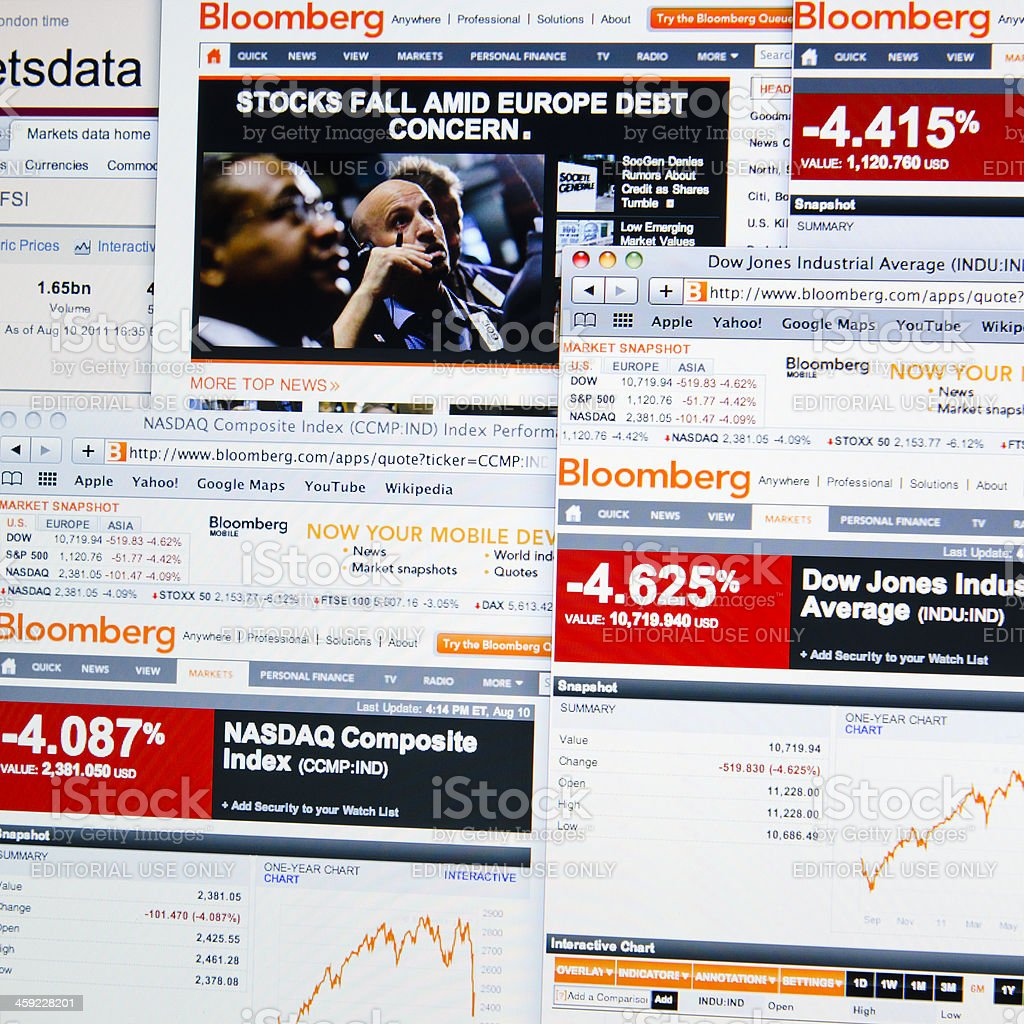 The world stock exchange crisis showed in Bloomberg.com royalty-free stock photo