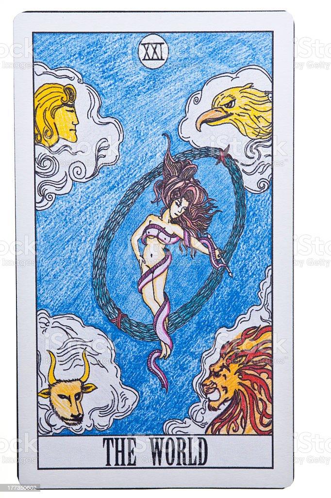 The World tarot card on Isolate Background stock photo